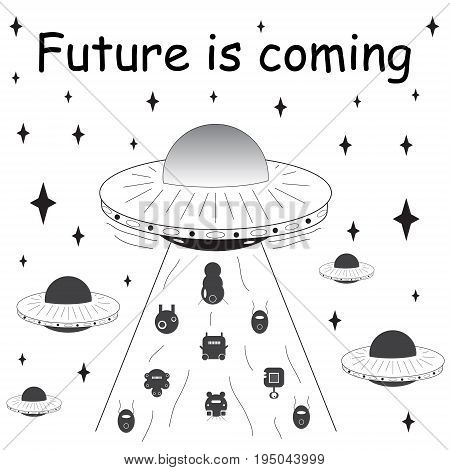 Vector illustration. Spaceship with aliens. T-shirt design. Future is coming