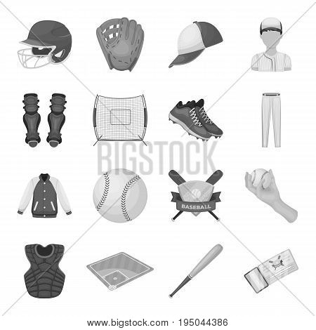 Ball, helmet, bat, uniform and other baseball attributes. Baseball set collection icons in monochrome style vector symbol stock illustration .