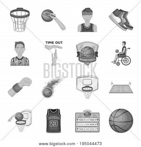 Ball, game, sport, fitness and other icons of basketball. Basketball set collection icons in monochrome style vector symbol stock illustration.