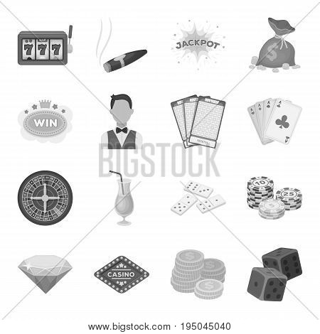 Roulette, cards, croupier, alcohol, and other attributes. Casino and gambling set collection icons in monochrome style vector symbol stock illustration .