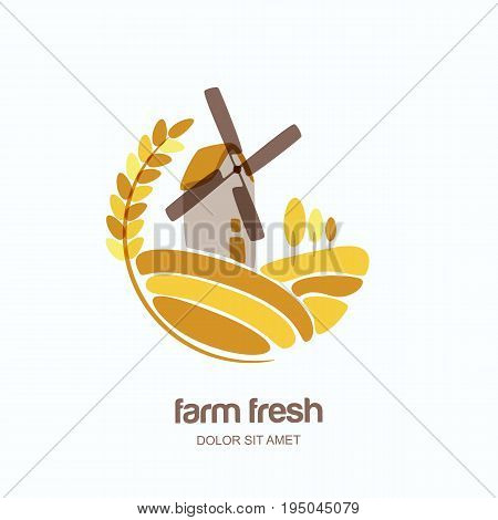 Vector Logo, Label, Emblem With Wheat, Barley, Or Rye Ears And Windmill In Field. Farm Landscape Iso