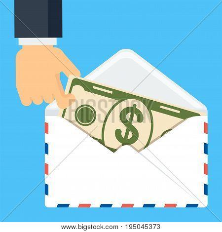 Hand Keep Banknote In Envelope
