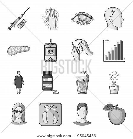 Insulin, sugar, level, analysis, diet and other attributes. Diabetes set collection icons in monochrome style vector symbol stock illustration .
