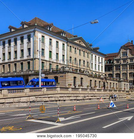 Zurich, Switzerland - 18 June, 2017: the main office of Zurich Municipal Police. Zurich Municipal Police (German: Stadtpolizei Zurich) is the third largest police corps in Switzerland, after Cantonal Police corpses of Zurich and Bern.