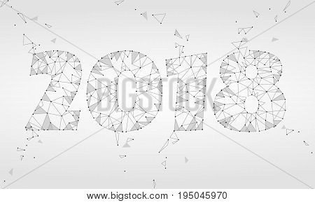 Geometric polygonal 2018 New Year Greeting card. Low poly triangle future technology neutral gray white background. Corporate business design vector illustration art