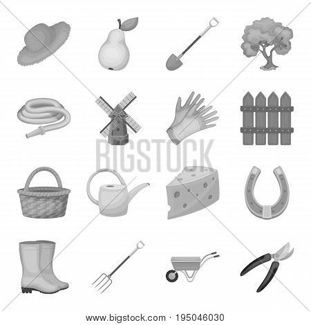 Cap, scoreboard, whistle and other fans equipment. Fans set collection icons in monochrome style vector symbol stock illustration.