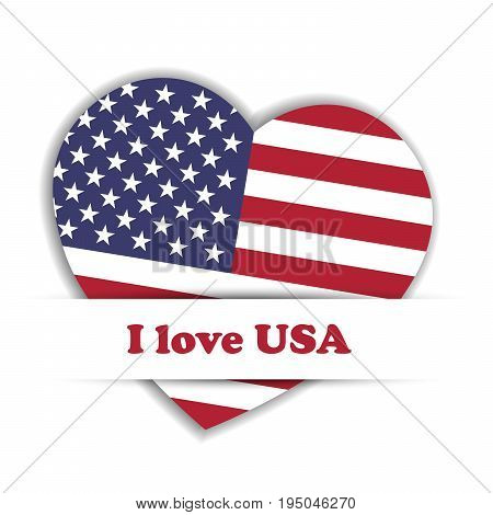 Independence Day Card. US flag in a shape of heart in the paper pocket with label I love USA. Patriotic independence theme. Vector illustration.