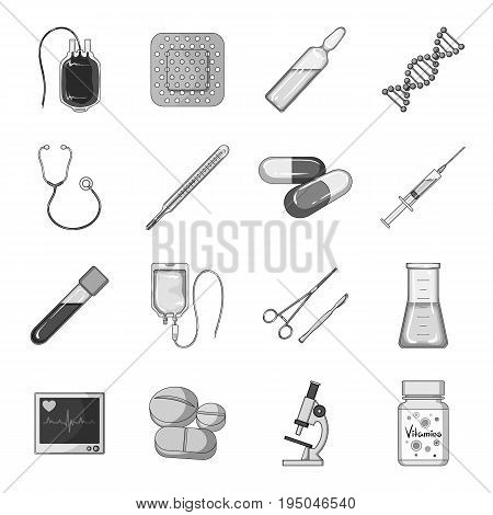 A movie camera, a floodlight, a chromakey and other equipment for the cinema.Making movie set collection icons in monochrome style vector symbol stock illustration .