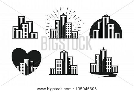 Modern city logo. Skyscraper, building, house, town set of icons. Vector illustration isolated on white background