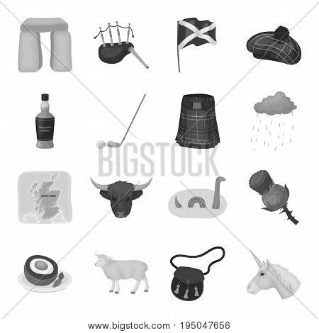 Kilt, bagpipes, thistles are national subjects of Scotland. Scotland set collection icons in monochrome style vector symbol stock illustration .