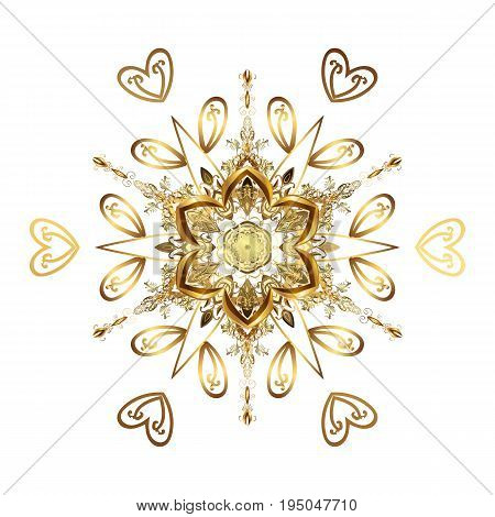 Vector Christmas golden snowflakes with doodles and dots on white background. Winter boarder. Abstract border. Vector pattern Christmas background.