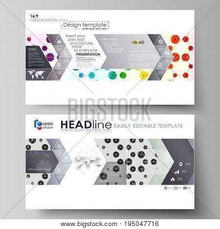 Business templates in HD format for presentation slides. Easy editable abstract vector layouts in flat design. Chemistry pattern, hexagonal design molecule structure, scientific, medical DNA research. Geometric colorful background.