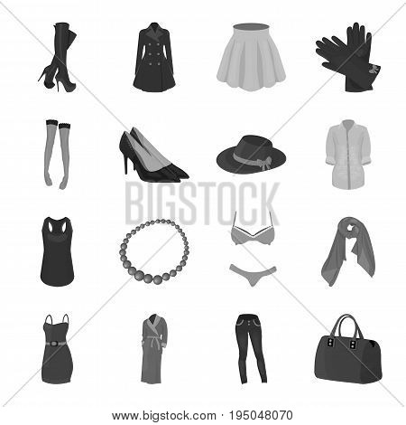 Dress, bra, shoes, women's clothing. Women's clothing set collection icons in monochrome style vector symbol stock illustration .