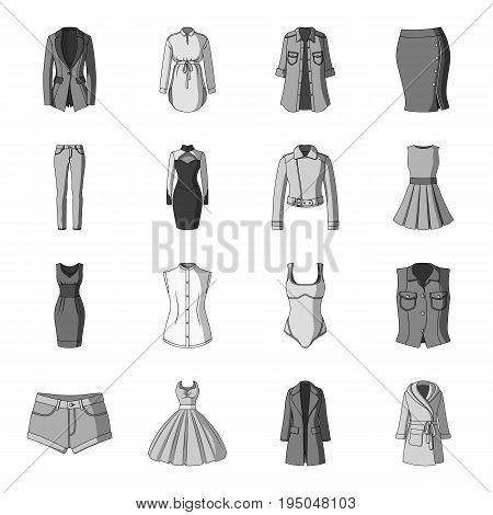 Dress, sarafan, coats of women's clothing. Women's clothing set collection icons in monochrome style vector symbol stock illustration .
