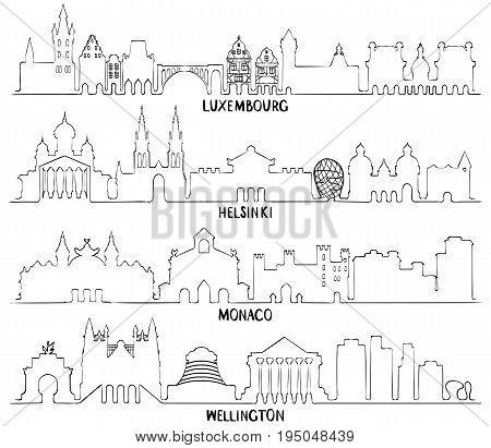 Skyline with Historic Architecture, line vector illustration. Luxembourg, Helsinki, Monaco and Wellington