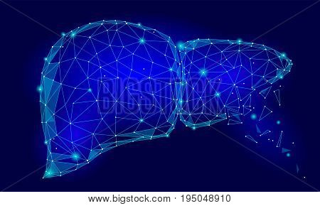 Treatment regeneration decay Human Liver Internal Organ Triangle Low Poly. Connected dots blue color technology 3d model medicine healthy body part vector illustration art