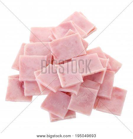 Ham Meat Isolated On White Background. Ham Slices Isolated On White
