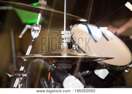 Details on the drums in the rock band .
