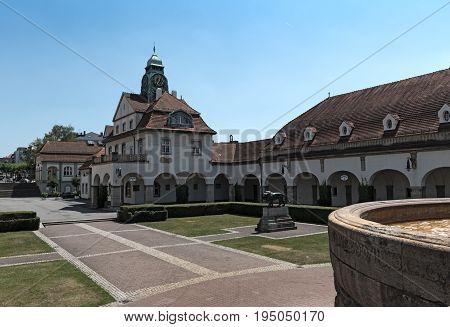 BAD NAUHEIM, GERMANY-JULY 06.07.2017: Sprudelhof spa house, Bad Nauheim, Hesse, Germany