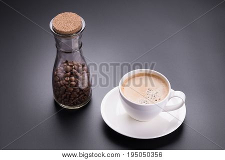 Hot Americano Coffee In White Glass On Black Background