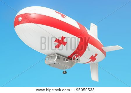 Airship or dirigible balloon with Georgian flag 3D rendering