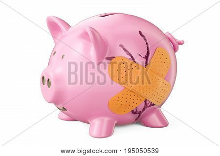 Broken piggy bank with adhesive plaster 3D rendering