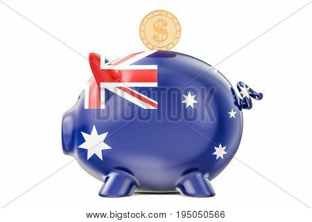 Piggy bank with flag of Australia and golden dollar coin. Investments and business concept 3D rendering