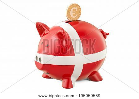 Piggy bank with flag of Denmark and golden euro coin. Investments and business concept 3D rendering