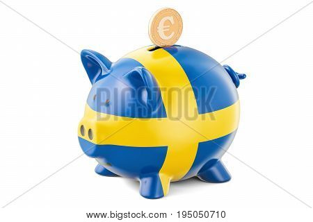 Piggy bank with flag of Sweden and golden euro coin. Investments and business concept 3D rendering