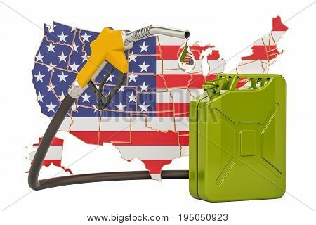 Production and trade of petrol in United States concept. 3D rendering isolated on white background