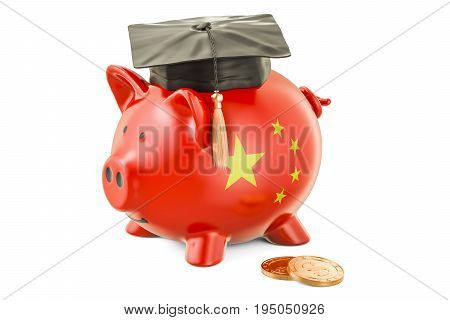Savings for education in China concept 3D rendering isolated on white background