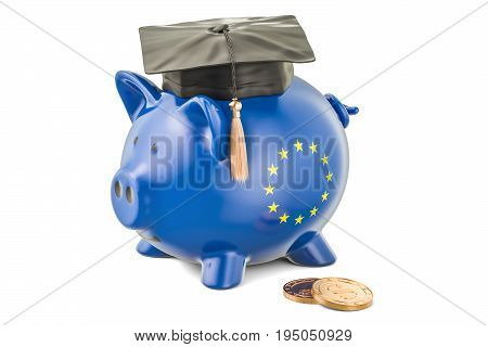 Savings for education in European Union concept 3D rendering isolated on white background
