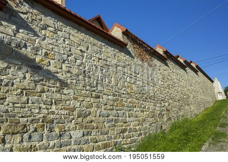 Firm tall wall in Kamyanets Podilsky, Ukraine