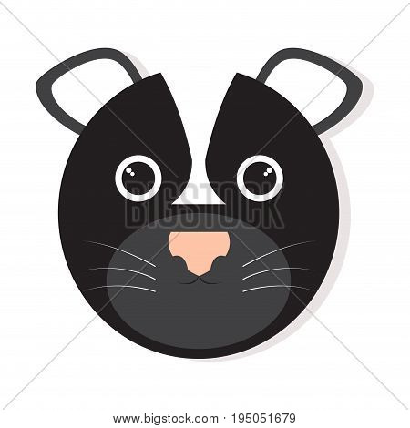 Isolated cute skunk face on a white background, Vector illustration