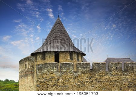 View on the turret and the wall of the Khotyn castle Podillya Ukraine