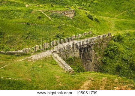 Ancient bridge near the Khotyn fortress Podillya Ukraine