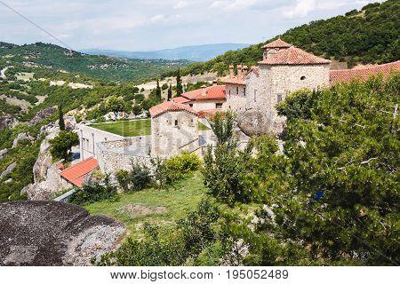 Aerial view of the monastery of Agia Triada Meteora,   UNESCO World Heritage Site, Trikala, Greece