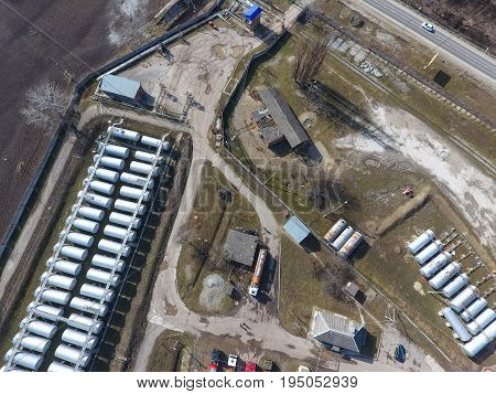 Top View Of A Small Tank Farm. Storage Of Fuel And Lubricants.