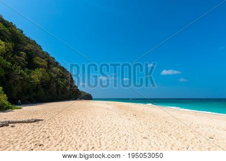 BORACAY WESTERN VISAYAS PHILIPPINES - JANUARY 14 2015: Wide angle view of the tropical Puka Beach located in the north of Boracay's Island.