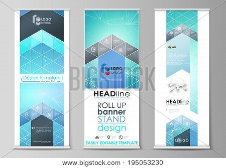 Set of roll up banner stands, flat design templates, abstract geometric style, modern business concept, corporate vertical vector flyers, flag layouts. Chemistry pattern, connecting lines and dots, molecule structure, medical DNA research. Medicine concep