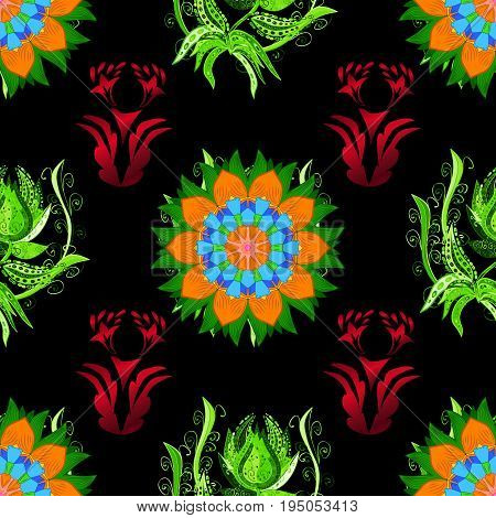 Seamless pattern with flowers on motley background. Vector illustration of black flowers.
