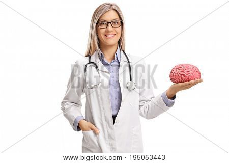 Female doctor holding a brain model isolated on white background