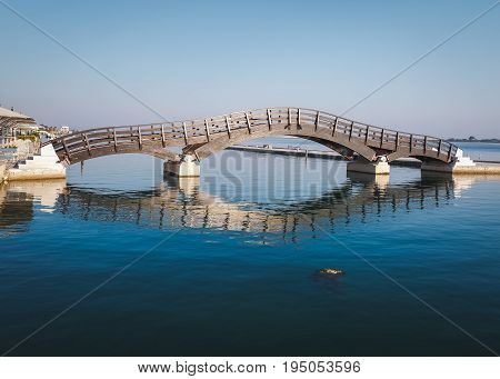 Lefkada Town, June 26, 2017. Wooden bridge in Lefkada island, Greece