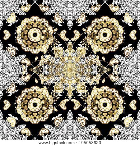 Golden dark floral ornament in baroque style. Damask repeating background. Golden element on dark background. Antique golden repeatable sketch.