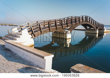 Wooden bridge in summer morning, Lefkada island,  Greece
