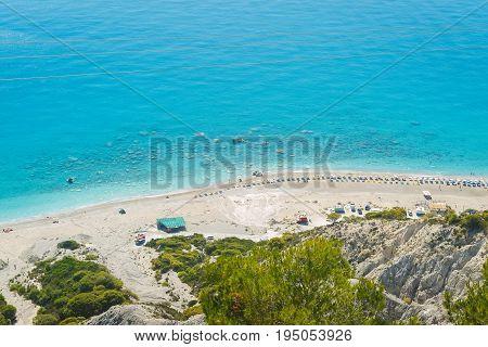 GIALOS BEACH, LEFKADA, June 26, 2017, Ionian Islands, Lefkada, Greece, aerial view