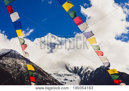 Himalayas Mountain Peak And Nepal Colorful Flags, Nepal