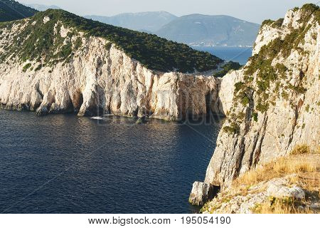 Lefkada island, west coast during sunset. Beautiful cliffs at Dukatos Cape, Lefkada Ionian sea, Greece