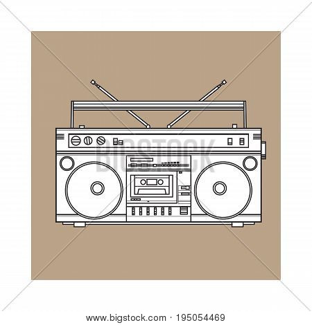 Old fashioned, retro style audio tape recorder, ghetto boom box from 90s, sketch vector illustration isolated on brown background. Front view of hand drawn audio tape recorder, boom box