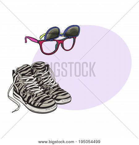 Personal items from 90s - high sneakers, wayfarer sunglasses with removable lenses, sketch vector illustration with space for text. Retro fashion - high sneakers, removable lens sunglasses